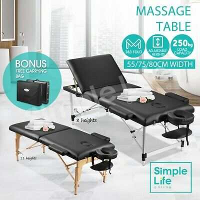 Wooden/Aluminium Foldable Massage Table Beauty Therapy Bed Waxing 55/75/80CM