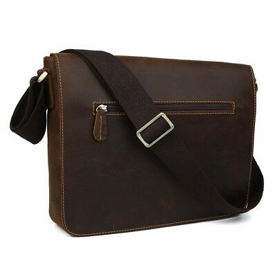 Retro Real Leather Men's Briefcase Messenger Shoulder Bag Schoolbag Satchel Tote