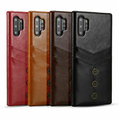 For Samsung Galaxy Note 10 Plus S10 + Case Leather Card Holder Wallet Back Cover