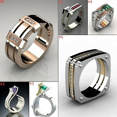 925 Silver Natural White Topaz Emerald Ring Band Wedding Couple Gift Size 6-10