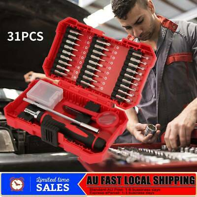 31Pcs Household Hand Tool Ratchet Screwdriver Professional Repair Tool Kit AU