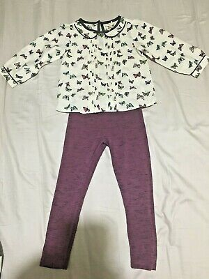 Next Butterfly top and Purple Leggings Outfit - Age 4  - set - smart, party