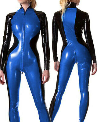 Damen Sexy 100% Latex Gummi Cosplay Catsuit Sport overall Bodysuit S-XXL 0.4mm