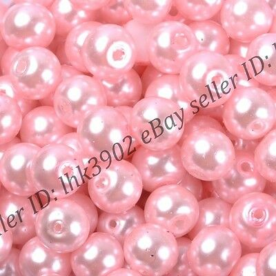 50pcs Top Quality Pink Czech GLASS PEARL Round & Loose BEADS 6mm