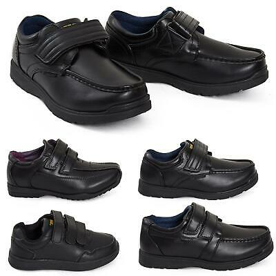 Boys Black Touch Fasten Velcro Smart Casual Back To School Slip On Faux Shoes