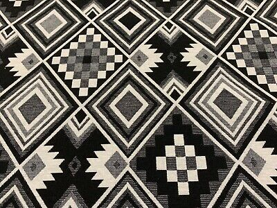 Traditional Aztec  Black & White Tapestry Designer Curtain/Upholstery Fabric