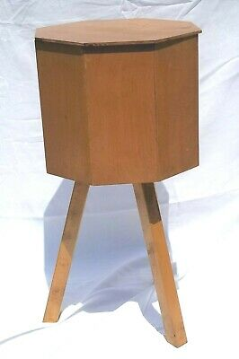 MCM VTG Wooden Sewing Stand Danish? Octagon Shape 3-Legs Standing Spool Basket