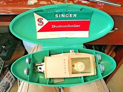 Vtg  Singer Buttonholer Attachment Button Hole Maker Green 1960