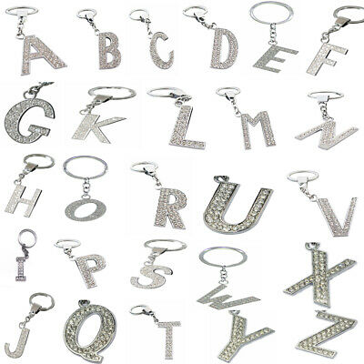Alphabet Crystal Keyring A - Z Initials Letter Key Ring Shiny Silver Key Chain,