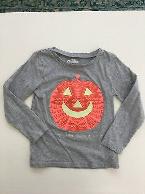 OshKosh Girls Pumpkin Glow in the Dark Halloween Shirt Long Sleeve SIze 5