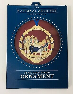 National Archives Christmas Ornament Declaration Of Independence 24 KT Finish