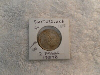 .SWITZERLAND 1957 B  2 Francs  AU .835 Silver KM#23