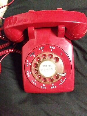 Vintage Red Bell System Western Electric Rotary Phone ! RARE!!