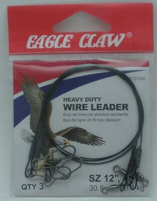 """Eagle Claw Black Heavy Duty 12/"""" Wire Leaders 3-Pack"""