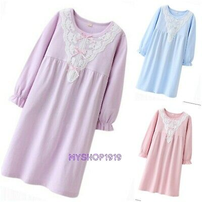 Girls Nightdress Nightie Pyjamas Cotton Long sleeve Nightwear Age 3-16 17 Years