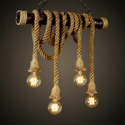 1m E27 Industrial Pendant Lamp Retro Vintage Edison Hemp Rope Ceiling Light Base