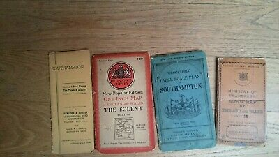 VINTAGE 4 maps southampton, the solent, ministry  of transport England and wales