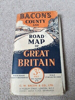 Bacons County And Road Map Of Great Britain