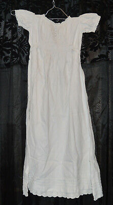 Antique Victorian Childs  Linen /Lace Christening Gown /Nightdress