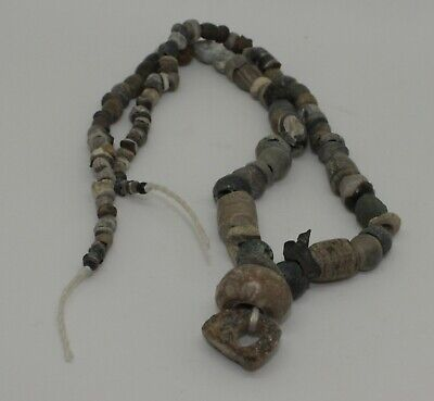 Ancient Carved Stone Bead Necklace - 0112