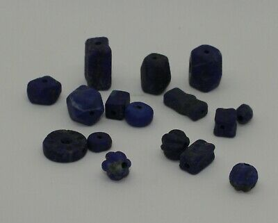 Good Quantity Of Ancient Carved Lapis  Beads -  0126
