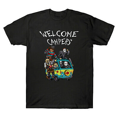 Welcome Campers Funny Camping The Massacre Machine Horror Movie Men's T-shirt