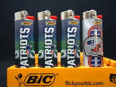 4 Bic Lighters New England Patriots NFL Football Disposable (Only 2 Designs)
