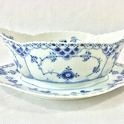 Royal Copenhagen Blue Fluted Full Lace Gravy Sauce Boat Attach Plate 1105 1St Q