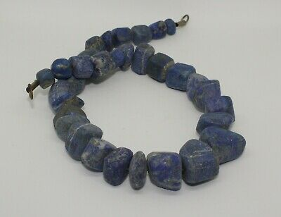 Large Ancient Carved Lapis Bead Necklace - 24