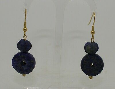 Ancient Carved Lapis Lazuli Bead Earrings - 01