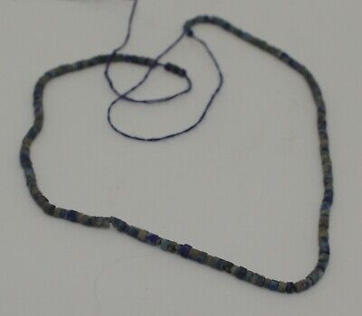 Fine Ancient Carved Lapis Bead Necklace 0671