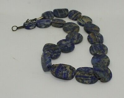 Large Ancient Carved Lapis Bead Necklace - 12231