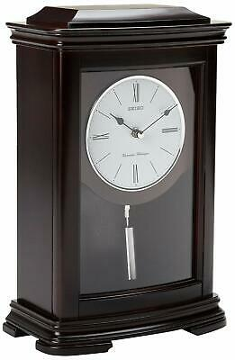 Seiko QXQ013BLH Mantel Chime with Pendulum Clock Dark Brown Alder Case