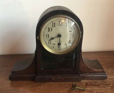 Vintage 1930s Napoleon Hat Mantel Clock Pendulum Window Comes With Key