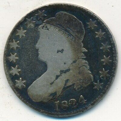 1824 Capped Bust Silver Half Dollar-A Nice Circulated Half-Ships Free! Inv:1