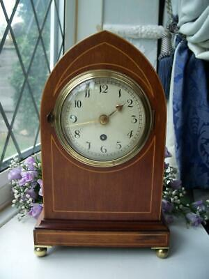 SUPERB QUALITY SMALLER ANTIQUE ENGLISH MAHOGANY LANCET FUSEE MANTLE CLOCK c1900