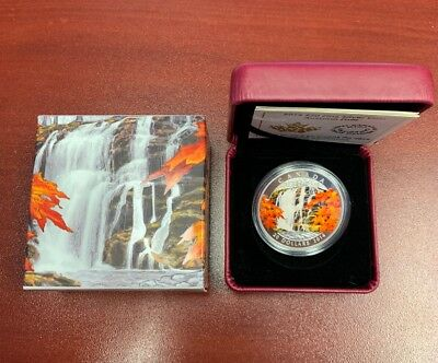 """Royal Canadian Mint """"Autumn Falls"""" Fine Silver Coin 2014 With Box And Certificat"""