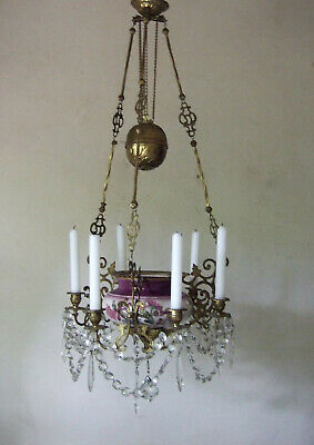 French Ormolu With Ground Crystal Drops Six Branch Candle Church Chandelier