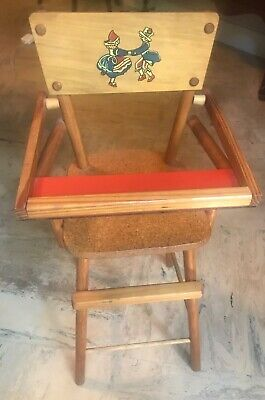 "Antique Vintage Doll Wooden High Chair Dutch Swedish Dancers Lift Up Tray 27""Hi"