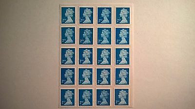 20 Unfranked Second Class Blue Security Stamps With Partial Gum