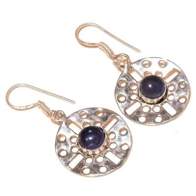 Stunning Iolite Cabochon Gemstone silver plated Handmade Bezel Circle Earrings