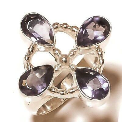 Stunning Iolite Pear Gemstone silver plated Handmade Statement Ring US-8.25