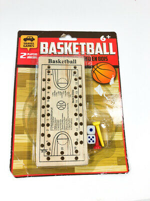Basketball PEG GAME Travel or Home Toy Wooden Court Brand New