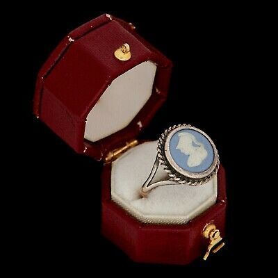 Antique Vintage Art Deco Retro Sterling Silver English WEDGWOOD Cameo Ring Sz 5