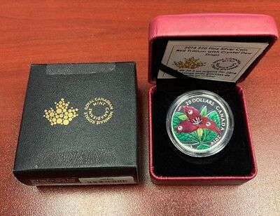 2014 Fine Silver Coin Red Trillium With Crystal Few Drops Royal Canadian Mint