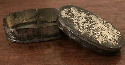 Victorian Antique Metal Oval Tin Shabby Chic Interior Display Prop Gift Box