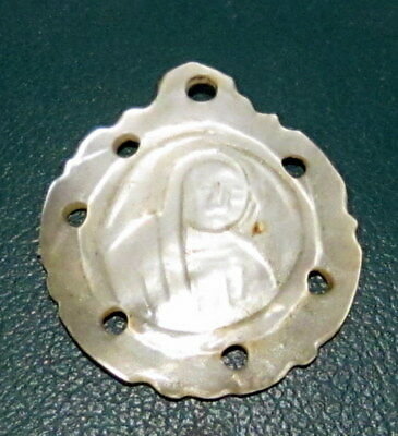 OUTSTANDING ANTIQUE 1800s. MOTHER of PEARL PENDANT WITH MADONNA # 83C