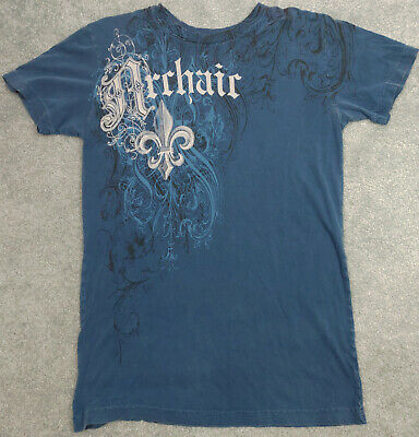 Affliction Archaic Men's Size S Blue Short Sleeve T-Shirt Angel Wings