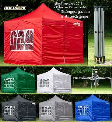 BULHAWK 3x3m PREMIUM 35MM COMMERCIAL GRADE HEAVY DUTY POP UP GAZEBO MARKET STALL