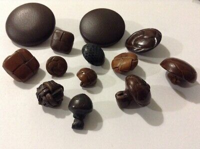 Assorted Job Lot Of Old/antique Leather Buttons. knotted & Metal Shank